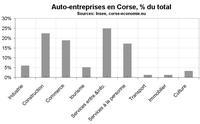 Créations d'auto-entreprises par secteur en Corse