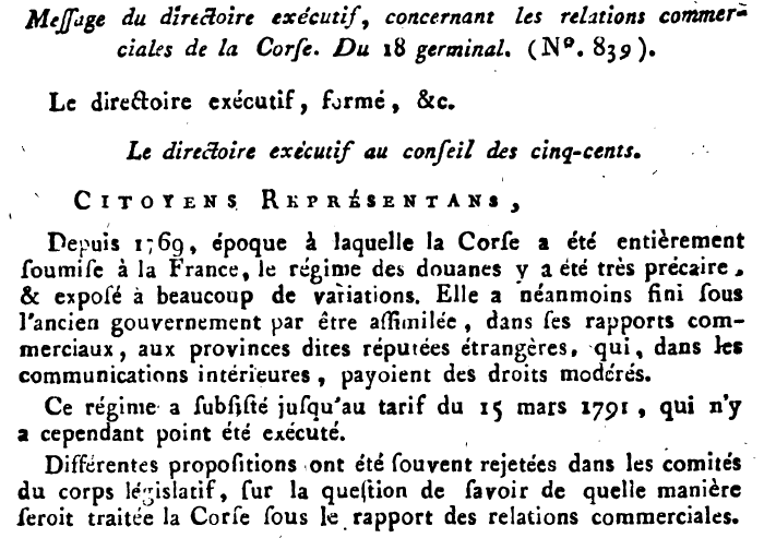 La Corse de la Révolution à l'Empire : fugage égalité, durables exceptions